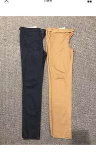 Ladies cargo brown blue work straight cut long pants size 6 8 Xs s