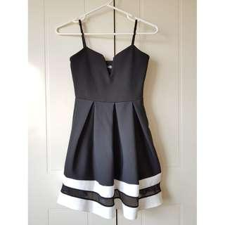 Black Midi Dress with White Striped Hems