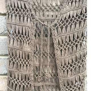 Womens crochet hippie style boho vest knit