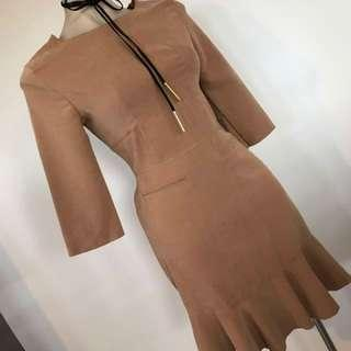 Ladies Suede Festival Brown Fishtail Dress Size 8 10 S M