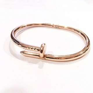 BN Rose Gold Nail Bangle Bracelet Cartier Style with Linen Pouch