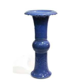 藍釉龍紋花觚