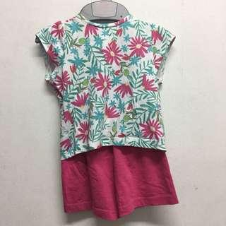 Floral baby shirt with pink shorts