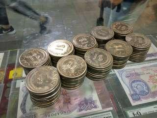 Lot of 100pcs Singapore Stylised Lion $1 Dollar coins 1967,68,69 mostly BU