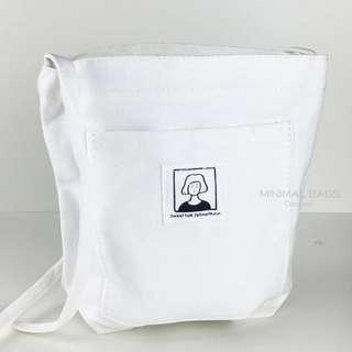 Instock Zip Small Sling Bag Closure Phone Wallet Holder Canvas Cotton Coins Pouch Cards Black White