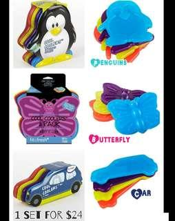 Fit & Fresh Cool Coolers Lunch Ice Packs < Car, Butterfly, Penguin, Sunglasses, Owl >, Set of 4