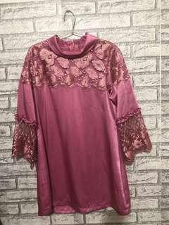 Baju pesta tille pink cuma sekali pakai LD 94cm