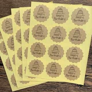 (Free Postage) 60 Happy Birthday Stickers - Kraft Stickers Kraft Labels