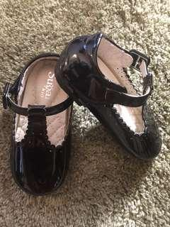 Sugar Kids T Strap Black Shoes