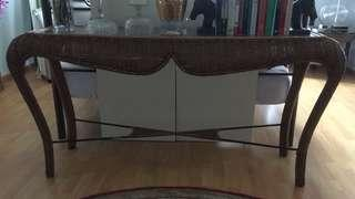 Solid Rattan console table