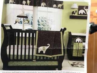 Nursery bedroom set: Musical Mobile, rug, curtain valance, diaper organizer, quilt blanket