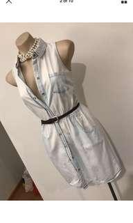 Ladies denim look sleeveless summer dress with pockets size 6 8 Xs s