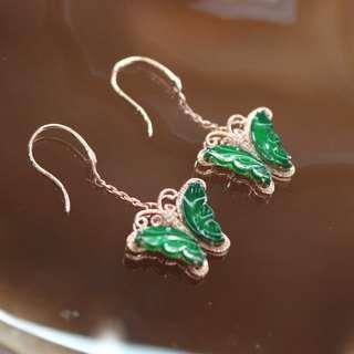 Type A Burmese Jade Jadeite 18k Rose Gold with Diamonds Butterfly Earrings