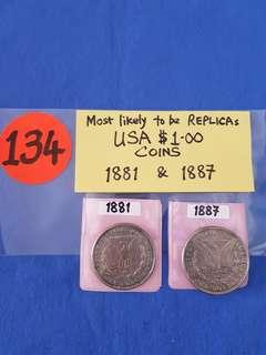 USA $1.00 COINS.  1881 & 1887.    NOTE: most likely to be replicas.