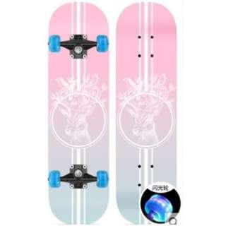 🚚 Skateboard – Short board, Double Kick Concave Skateboard with flashing wheels for Kids 4 – 13years old. (Double sided design)