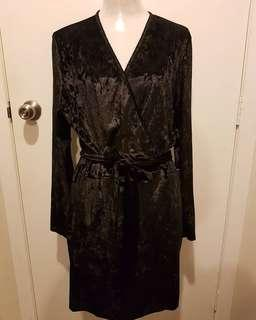 Size 16 Black Velvet Wrap dress