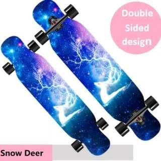 Skateboard – Long board, 42 inches Skateboard for Beginner and Pro (Double sided design)