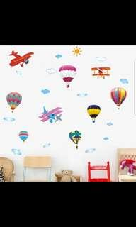 Cartoon Helicopter Colorful Hot Air Balloon wall stickers Baby Room Kindergarten Children's Room Decoration Self-adhesive PVC Wall Sticker ⭕Size see last picture 2 set $20