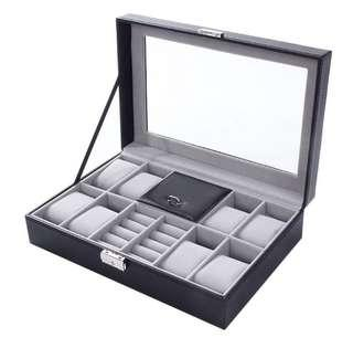 CNY Flash⚡️Sales 🔥Brand new🔥 2in1 Watch Box, 8 slots Watch Storage Box with Jewelry compartments/ Organizer Box.