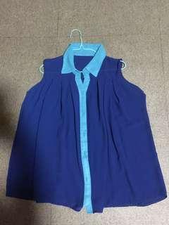 Blue Chiffon Sleeveless Flare Top