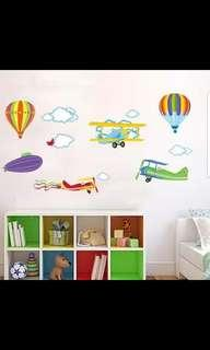 Children's room boy bedroom wall sticker kindergarten decoration wallpaper cartoon stickers hot air balloon plane wall stickers ⭕Size see last picture 2 set $20