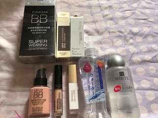 Cosmetics set, Bioaqua Bb cream ,silky skin concealer,double colour eyes shadow,Daiso cleansing water A ,Daiso whitening lotion