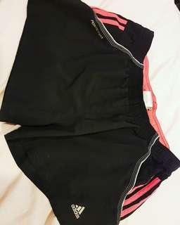 ADIDAS black and pink running shorts size 12