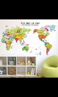 Cartoon animal world map wall stickers with country name and flags children's room wall bedroom bedside decorations background wall stickers self-adhesive ⭕Size see last picture ( Come with country name and flags )