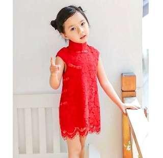 🚚 【BABYWEAR】【CLOTHING】【GIRL】CNY11 BABY GIRL TODDLER CHILDREN CNY RED LACE CHEONGSAM DRESS