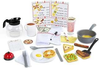 *Brand New* Melissa & Doug Star Diner Restaurant Pretend Play Set House with cookware, utensils and wooden food 41 Piece (Best Gift for Holiday, Preschoolers Birthday and Christmas) Dinner