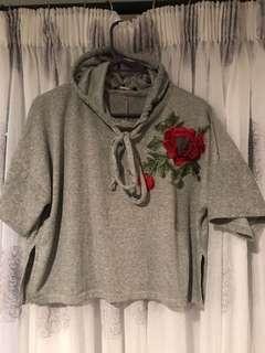 Rose Embroidered Crop Jumper