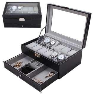 CNY Flash⚡️Sales 🔥Brand new🔥 2x Layer Watch Box, 12 slots Watch Storage Box with Jewerly compartments/ Organizer Box.
