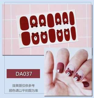 指甲貼紙 3D光療防水立體美甲材料 美甲貼片 光療指甲貼孕婦可用 熊大