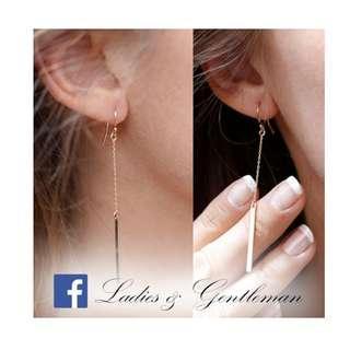 可改夾式<Ladies & gentleman>金色歐美時尚長條流蘇式穿式耳環