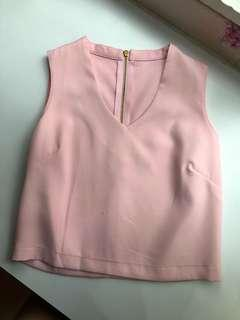 Pink V Neck Sleeveless Top