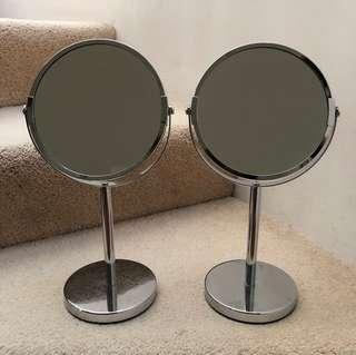 Silver standing mirrors