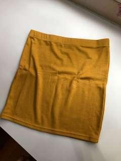 Kitschen Mustard Yellow Short Bodycon Skirt