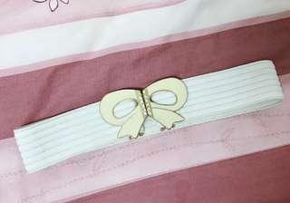 🚚 白色蝴蝶結-氣質小禮服腰帶