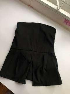 Peplum Black Sleeveless Top