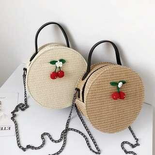 🚚 Minimalist simple basic cherry round straw bag / handbag po