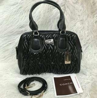 AUTHENTIC COACH GATHERED LEATHER SMALL SATCHEL