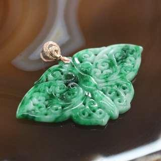 Type A Burmese Jade Jadeite Butterfly Pendant In 18k Rose Gold