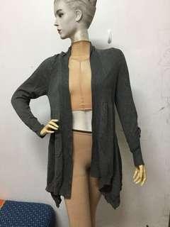🚚 全新灰色F號針織開襟長版外套