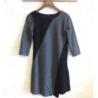 日本品牌 INDIVI 日本製毛料七分袖洋裝 38