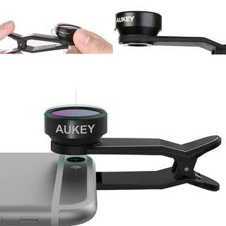 1820. Aukey - PL-A3 - 3 in 1 198° Clip on Fish Eye Lens for Mobile Phones. Colour: Black.