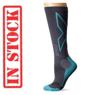 In Stock 2XU Women's Hyoptik Compression Reflective Socks-Grey/Ice Green size S