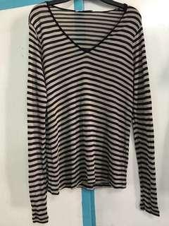 Mango Brown and Black Striped Long Sleeved Shirt