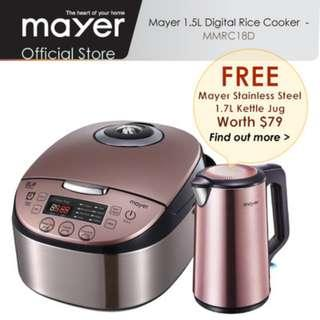 Mayer 1.5L Rose Gold Digital Rice Cooker ( FREE Mayer Stainless Steel 1.7L Kettle worth $79)