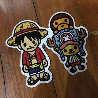 Pop Culture Luggage Laptop Misc Sticker Bape Bathing Ape Anime One Piece Luffy Chopper Collaboration Fashion