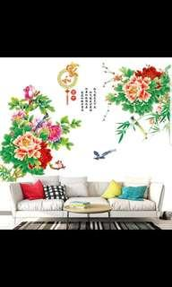 2 in 1 Large size Peony flower stickers ink painting wall stickers living room TV sofa background decoration removable wall stickers ⭕Size see last picture